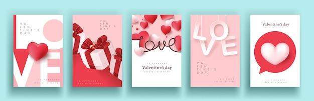 Set di poster di vendita di san valentino o banner backgroud.