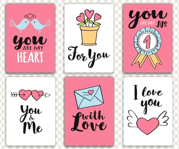 Set di carte di san valentino con scritte a mano scritte.