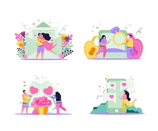 Set di composizioni piatte 4x1 di san valentino con lettere di coppie amorose in busta e illustrazione di messaggi di gadget