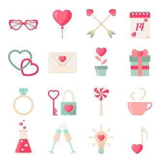 Insieme della raccolta degli elementi delle icone di san valentino