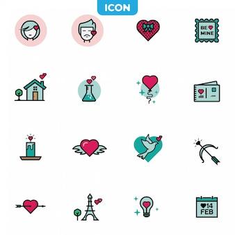 Set di icone di san valentino.