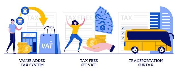 Insieme di sistema di imposta sul valore aggiunto, servizio esentasse, addizionale di trasporto