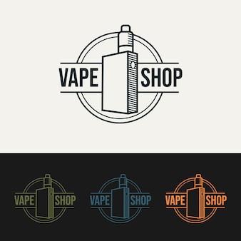 Set di vape shop linea minimalista logo modello illustrazione vettoriale design semplice e moderno emblema