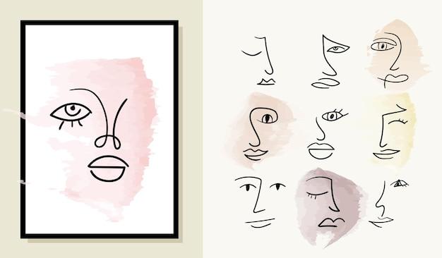 Insieme di vari volti astratti disegnati a mano su sfondo ad acquerello
