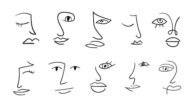 Insieme di varie facce disegnate a mano astratte