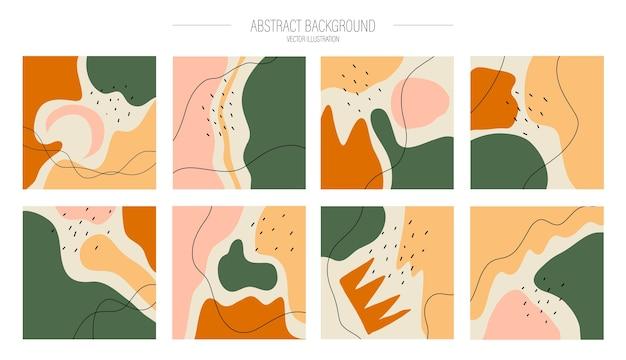 Un insieme di vari modelli di post astratti. varie forme disegnate a mano e oggetti di doodle.