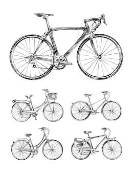 Insieme di varie biciclette, schizzi disegnati a mano di biciclette