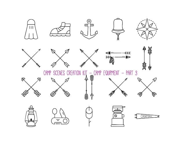 Insieme di varie icone dell'attrezzatura da campeggio. parte 3