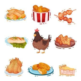 Insieme di vari piatti di pollo