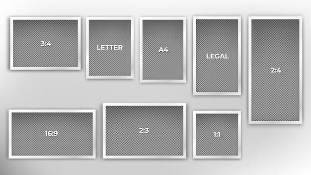Set di modelli di cornice di varie dimensioni comuni