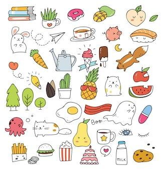 Insieme di vari icona carina in stile doodle isolato su priorità bassa bianca Vettore Premium
