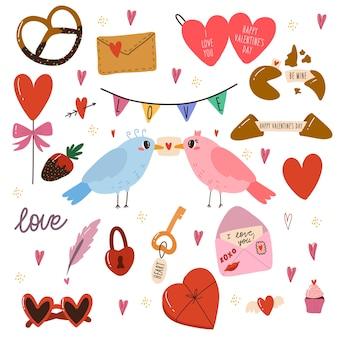 Insieme di vari elementi per il giorno di san valentino. uccelli, dolci, biscotti, torte, lettera del cuore d'amore.