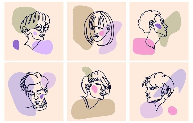 Set di varie facce e forme astratte illustrazioni disegnate a mano vettoriali
