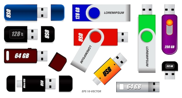 Set di varie unità flash o set di unità flash usb o unità flash colorate isolate