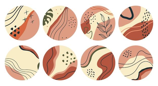 Insieme di varie forme geometriche con foglie evidenziano copertine