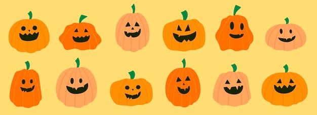 Insieme di varie zucche di halloween. zucche di halloween dei cartoni animati