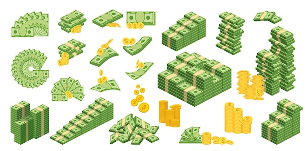 Imposta un diverso tipo di denaro. imballaggio in mazzi di banconote, banconote volanti, monete d'oro. banca e bilancio. illustrazione vettoriale piatto. oggetti isolati su uno sfondo bianco..