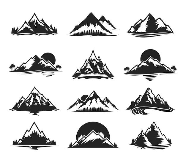 Insieme di varie icone monocromatiche di montagna