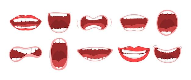 Set di varie opzioni di bocca aperta con le labbra