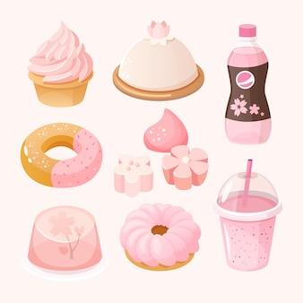 Insieme di vari dolci e dessert colorati rosa pastello. cibo a tema stagione sakura.