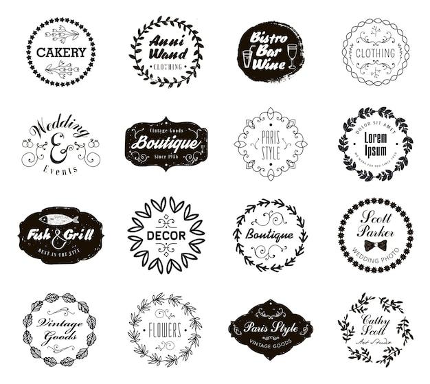 Insieme di vari distintivi di piccole imprese con allori floreali. icone vintage, loghi per negozio, prodotto, salone, bar, ecc.
