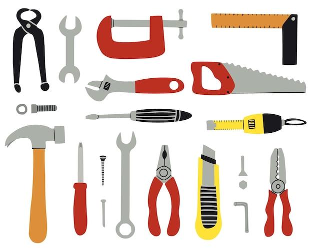 Un insieme di vari strumenti per la riparazione e la costruzione