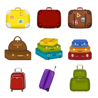 Set di varie borse da viaggio valigie con adesivi su sfondo bianco isolato viaggio estivo