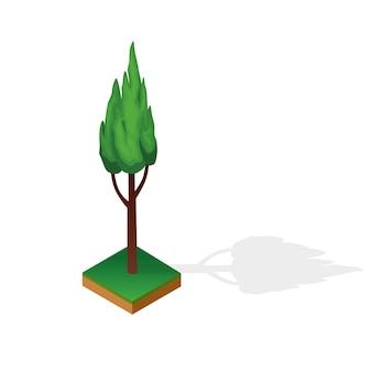 Set di legno di vario tipo isolato su priorità bassa bianca. pianta verde per parco pubblico o giardino paesaggistico isometrico. elemento costruttore del paesaggio. icona vettoriale per infografica o gioco