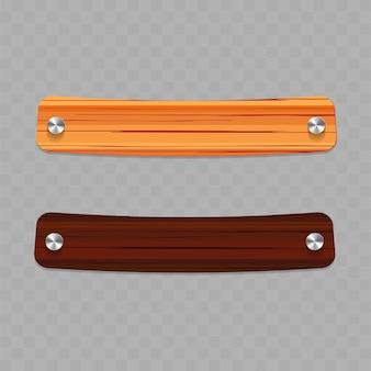 Insieme di vari striscioni in legno. banner di tavola di legno, struttura del telaio in legno, illustrazione