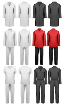 Set di vari abiti da lavoro.