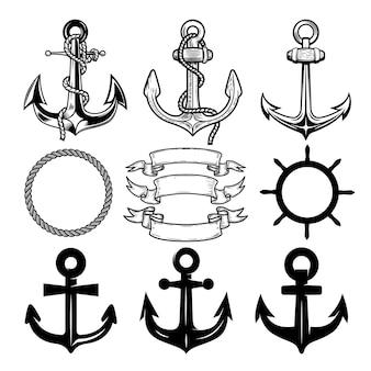 Set di ancoraggi vettoriali. modello di progettazione di etichette e loghi. .
