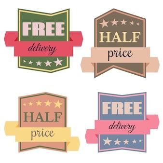 Set di badge vettoriali con nastri e le parole