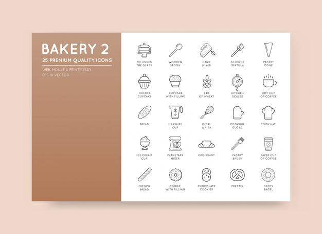 L'insieme degli elementi della pasticceria del forno di vettore e dell'illustrazione delle icone del pane può essere usato come logo o icona nella qualità premio