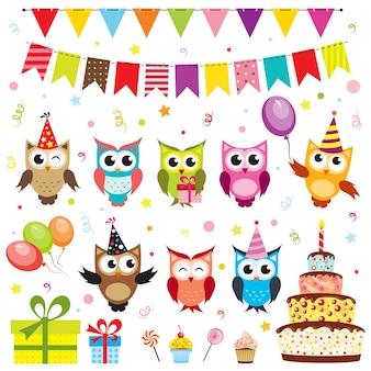 Set di elementi di festa di compleanno di vettore con i gufi