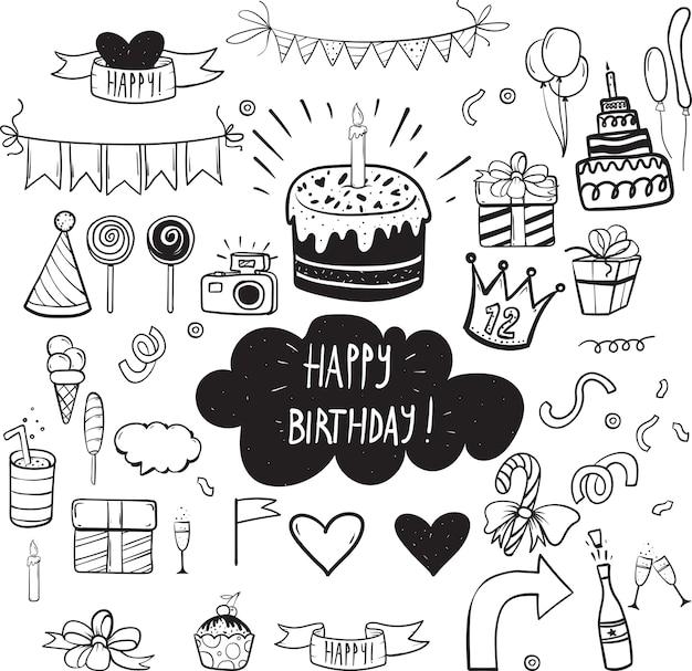 Set di elementi di festa di compleanno vettoriale