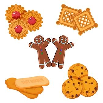 Set di biscotti vettoriali ragazzo di pan di zenzero, pasticceria con gelatina nel mezzo, cracker freschi