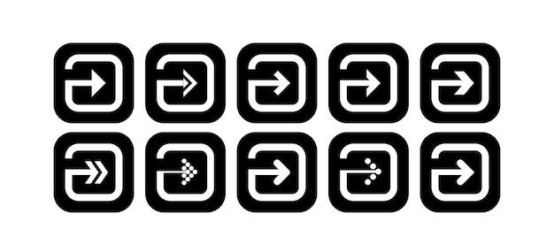 Imposta il vettore per l'icona della freccia nera a forma di quadrato arrotondato