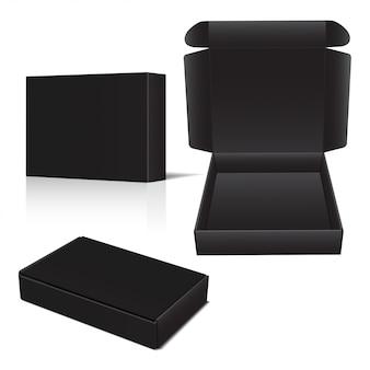 Set di scatola di cartone nera di vettore.