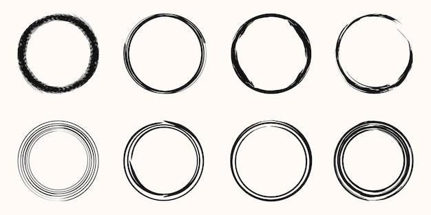 Set di vettore pennellata di cerchio nero. per modello di disegno di timbro, sigillo, inchiostro e pennello.