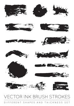 Set di pennellate di inchiostro nero penna vettoriale. tratto di pennello inchiostro grunge. tratto di pennello sporco.