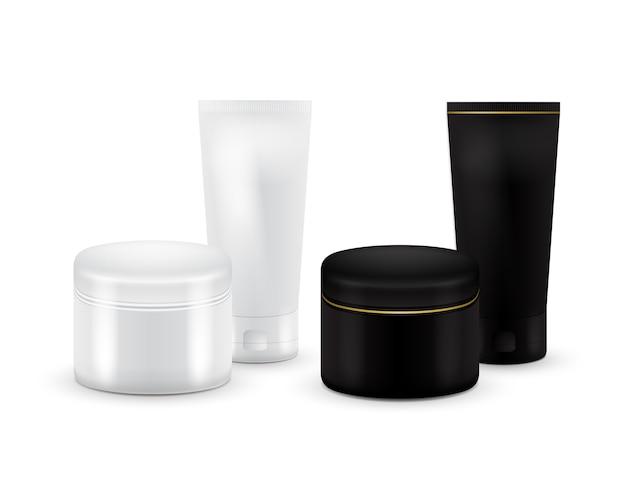 Set di vettore blank cosmetic container per crema, polvere o gel. colore bianco e nero. contenitore cosmetico. modello. tubo di dentifricio, crema, siero o pulito. imballaggio del prodotto.