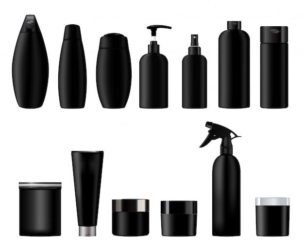 Impostare modelli vuoti vettoriali di contenitori di plastica neri vuoti e puliti: bottiglie con spray, vasetto di crema, dispenser e contagocce, tubo.