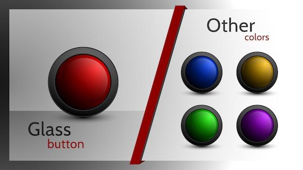 Set di pulsanti vettoriali di diversi colori per il web design.