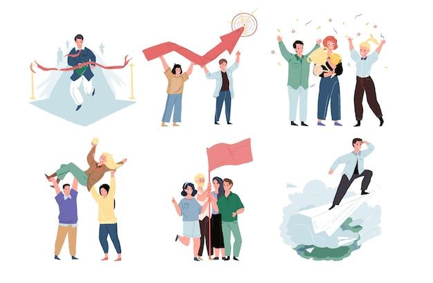 Set di personaggi dei cartoni animati vettoriali in metafore grafiche per un buon lavoro di squadra e il raggiungimento del successo. imprenditori di successo che celebrano la vittoria-completamento del lavoro, concetto di raggiungimento degli obiettivi, design del sito web