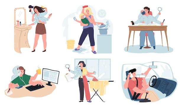 Set di personaggi dei cartoni animati vettoriali con molte mani, metafora multitasking. varie persone che gestiscono tutto, svolgono diverse attività contemporaneamente al lavoro ea casa concetto di gestione del tempo efficace