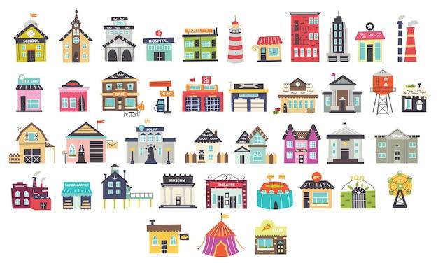 Set di edifici per bambini del fumetto vettoriale. progettazione della scuola materna per il creatore di mappe. illustrazione vettoriale