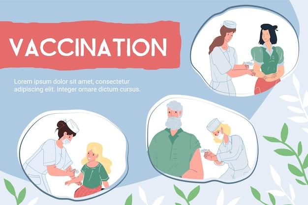 Set di medici piatti vettoriali dei cartoni animati che vaccinano diversi personaggi del paziente: prevenzione delle malattie da infezione da coronavirus covid, diagnostica, concetto medico di trattamento e terapia, design di banner di siti web