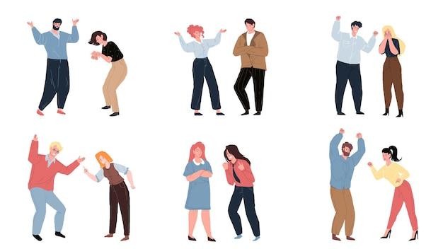 Set di vettore cartone animato piatto litigare coppia di personaggi in vari stati d'animo aggressivi, persone diverse e pose. comunicazione, gestione della rabbia e concetto di comportamento sociale, progettazione di annunci banner sito web