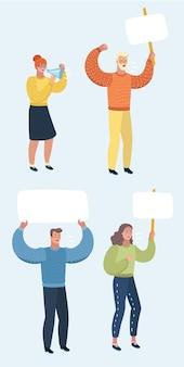 Insieme dell'illustrazione del fumetto di vettore dei manifestanti pacifici su priorità bassa bianca con cartelloni pubblicitari.
