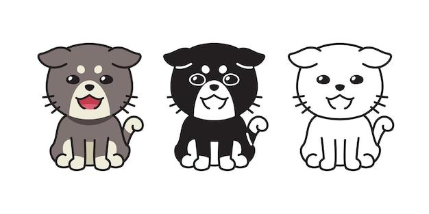 Set di gatto dei cartoni animati di carattere vettoriale per il design.
